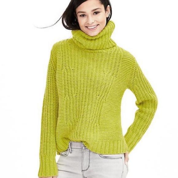 4f8a1ba488317 Banana Republic Sweaters - Banana Republic Chartreuse Turtleneck Sweater